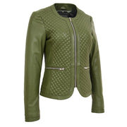 Women Collarless Olive Green Leather Jacket Fitted Quilted Zip Up - Remi