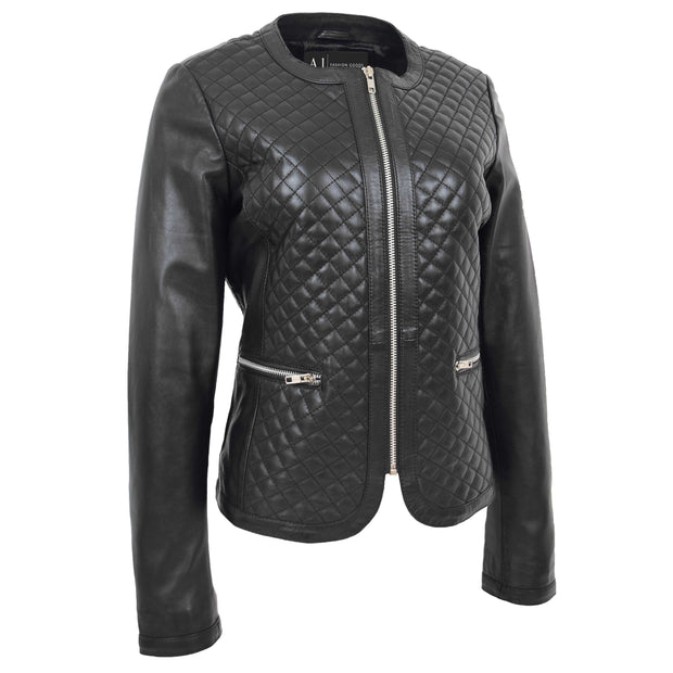 Women Collarless Black Leather Jacket Fitted Quilted Zip Up - Remi