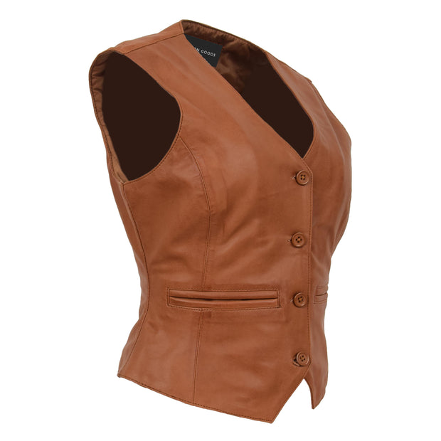 Womens Soft Leather Waistcoat Slim Fit Vest Classic Gilet Katy Tan Front