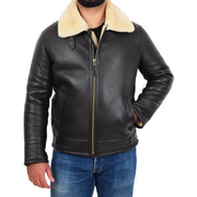 Mens Original Sheepskin Flying Jacket B3 Bomber Aviator Pilots Shearling Coat Raptor Brown/White