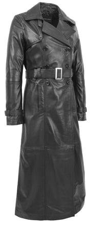 Womens Full Length Long Black Leather Trench Coat Trinity