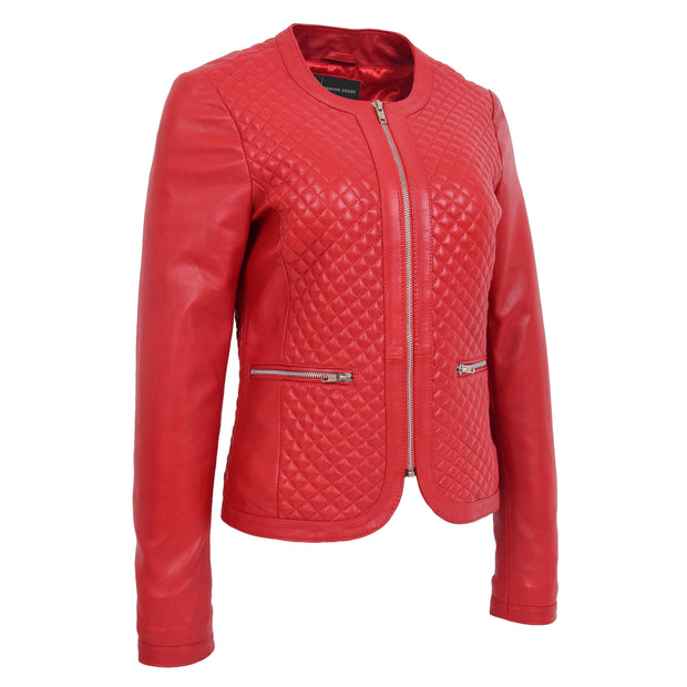 Women Collarless Red Leather Jacket Fitted Quilted Zip Up - Remi