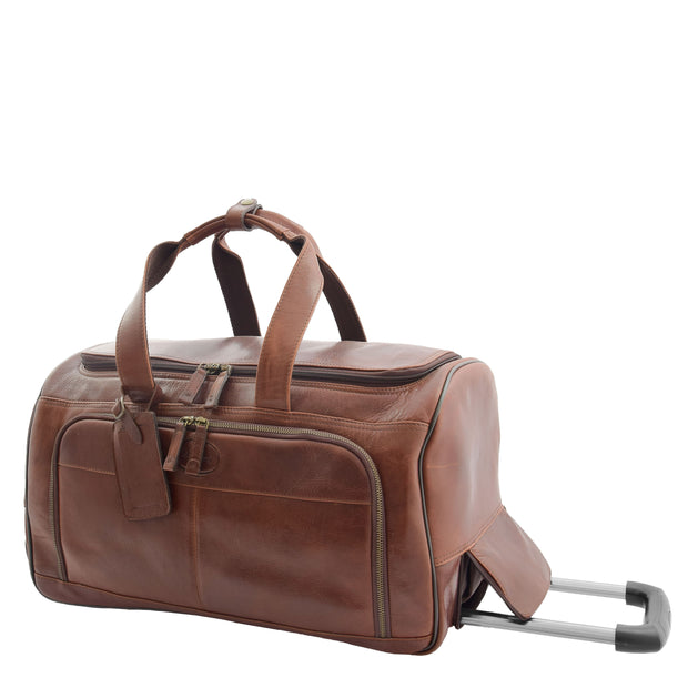Wheeled Brown Leather Holdall Telescopic Handle Travel Duffle Ozwald