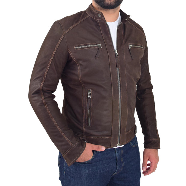 Mens Brown Waxed Skipper Real Leather Biker Style Jacket Captain