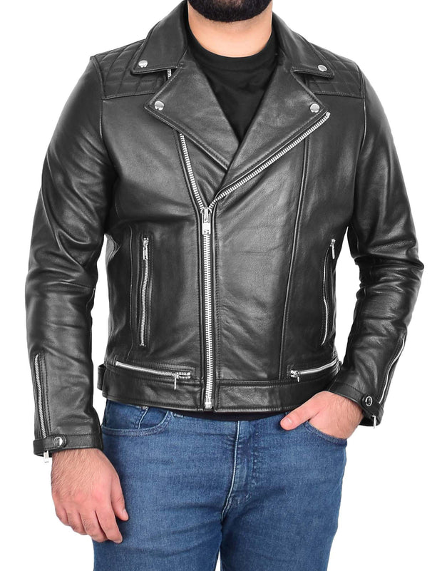 Men Genuine Black Cowhide Biker Leather Jacket Trendy Cafe Racer Brando Cruz