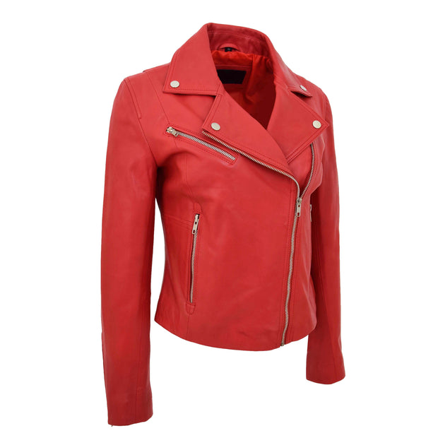 Womens Soft Genuine Leather Biker Jacket Slim Fit Coat Julie Red