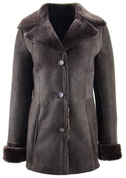 Womens Real Sheepskin Brown Jacket Classic 3/4 Mac Merino Shearling Trench Zona