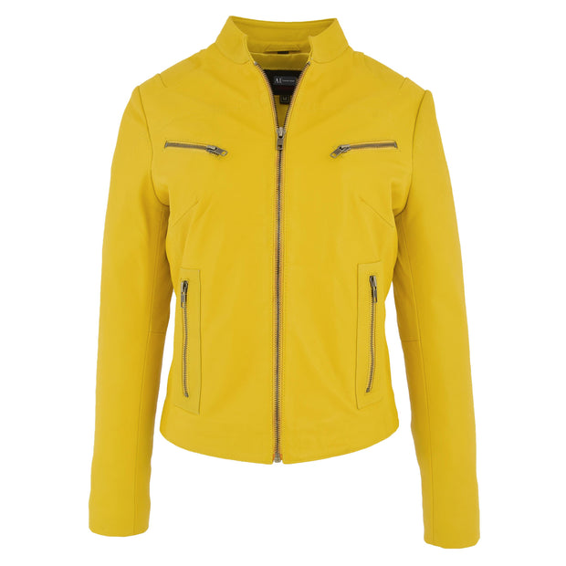 Womens Fitted Leather Biker Jacket Casual Zip Up Coat Jenny Yellow