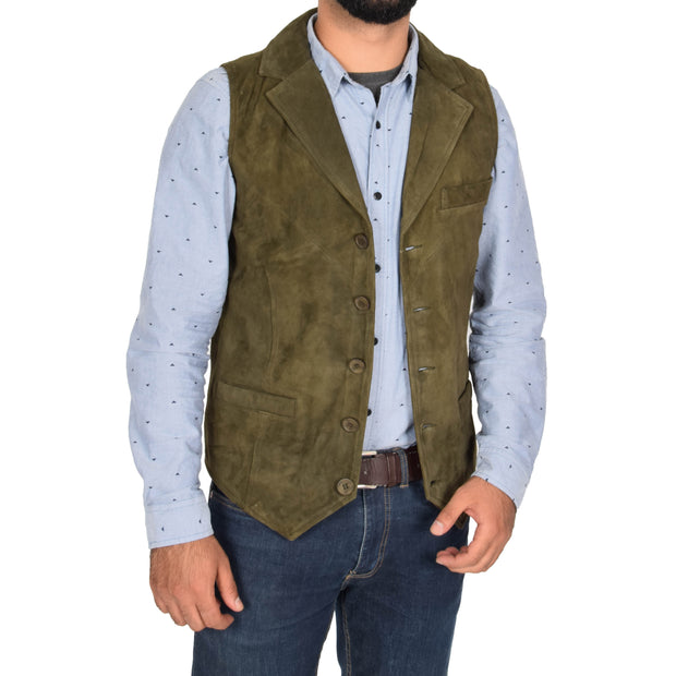 Mens Real Suede Leather Waistcoat Classic Vest Yelek Status Green Open