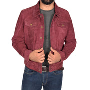 Mens Real Soft Goat Suede Trucker Denim Style Jacket Chuck Burgundy