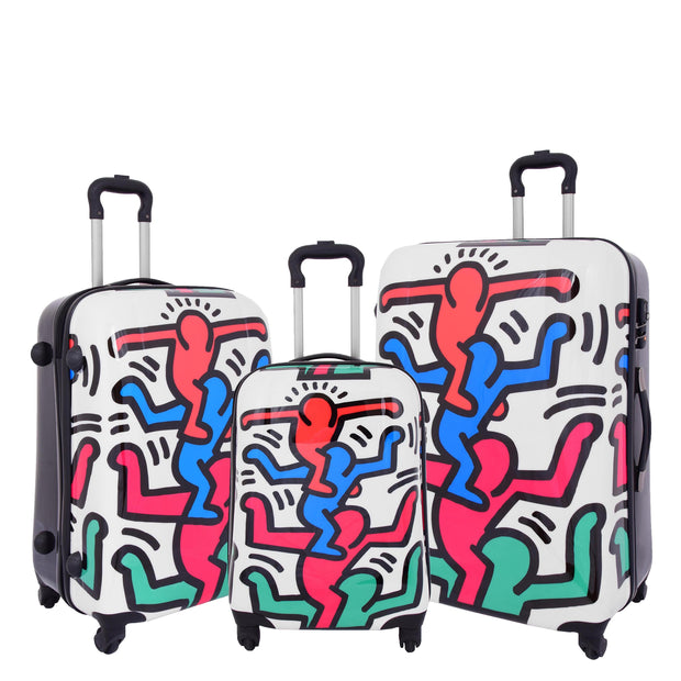 Robust Hard Shell Suitcase Stack Up Man Print 4 Wheel Luggage Bags