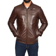 Mens Classic Zip Fasten Box Leather Jacket Tony Brown zip fasten