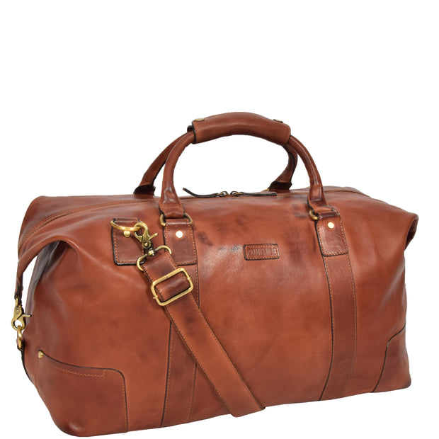 Genuine Leather Holdall Vintage Tan Travel Weekend Duffle Bag Rome