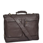 Genuine Luxury Leather Suit Garment Dress Carriers A112 Brown
