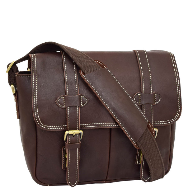 Real Leather Cross Body Shoulder Bag Multi Use Camera Organiser Bussell Brown