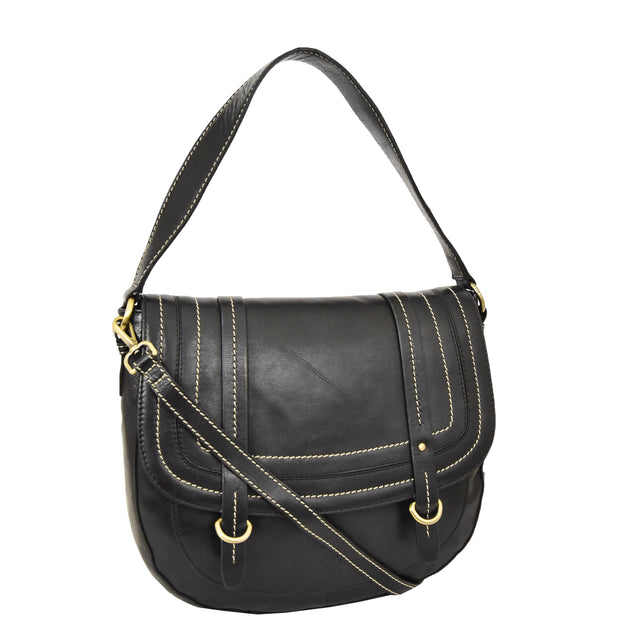 Womens Genuine Black Leather Satchel Bag Classic Hobo Shoulder Handbag Cecil Front With Belt