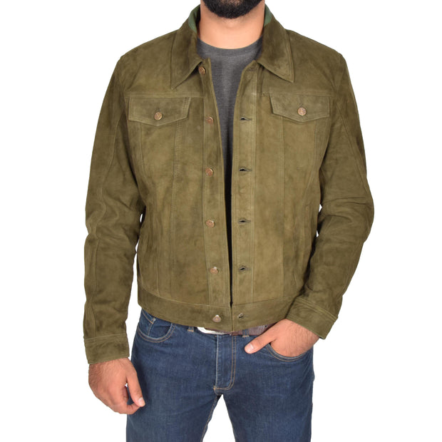 Mens Real Soft Goat Suede Trucker Denim Style Jacket Chuck Green