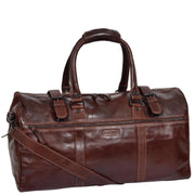 Brown Luxury Leather Holdall Travel Duffle Weekend Cabin Bag Targa