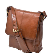 Mens Real Leather Cross body Messenger Bag A224 Chestnut