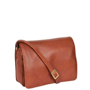 Womens BROWN Leather Shoulder Bag Classic Casual Cross Body Satchel A54