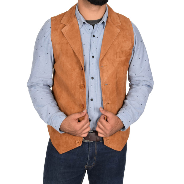 Mens Real Suede Leather Waistcoat Classic Vest Yelek Status Tan