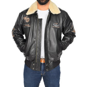 Mens Pilot Bomber Leather Jacket Spitfire Black open view