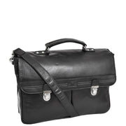 Genuine Leather Briefcase for Mens Business Office Laptop Bag Edgar Black