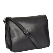 Womens BLACK Leather Messenger Cross body Shoulder Bag A53