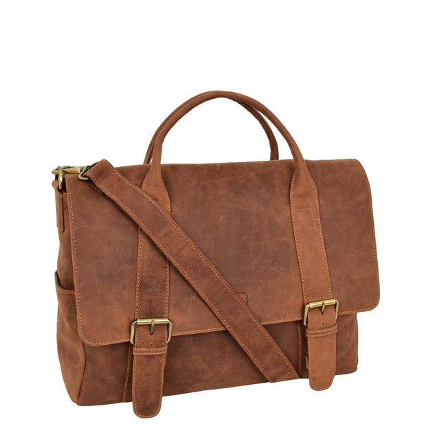 Men Briefcase Vintage Tan Hunter Leather Soft Satchel Laptop Bag Leon