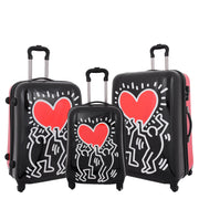 Tough Hard Shell Suitcase Big Heart 4 Wheel Luggage TSA Lock Bags