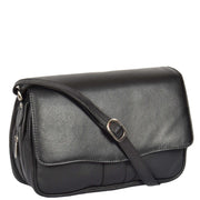 Womens Black Leather Shoulder Messenger Handbag Ada