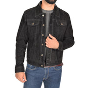Mens Real Soft Goat Suede Trucker Denim Style Jacket Chuck Black
