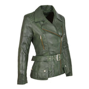 Womens Biker Leather Jacket Slim Fit Cut Hip Length Coat Coco Green