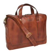 Real Soft Leather Satchel Vintage TAN Briefcase Business Office Bag Rio Front Angle