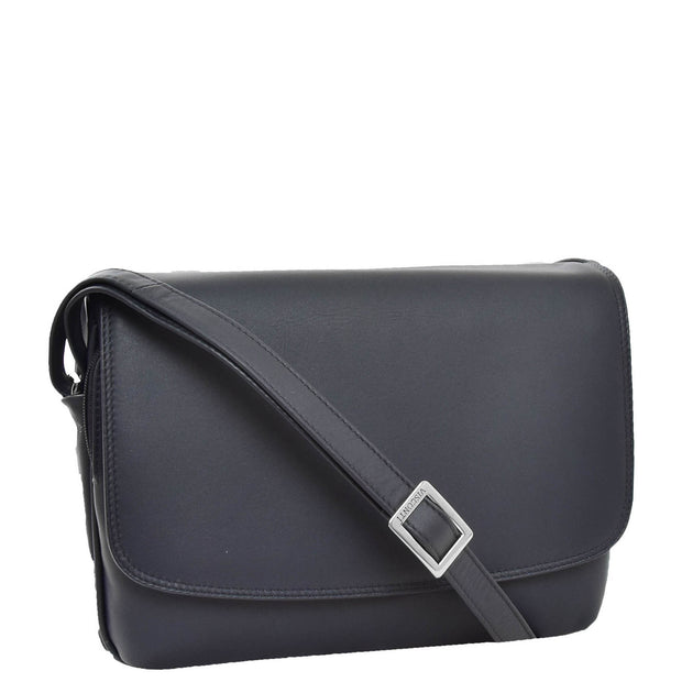 Ladies NAVY Leather Shoulder Bag Flap Over Handbag A190