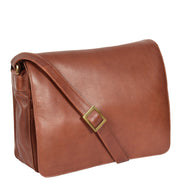 Womens BROWN Leather Messenger Cross body Shoulder Bag A53