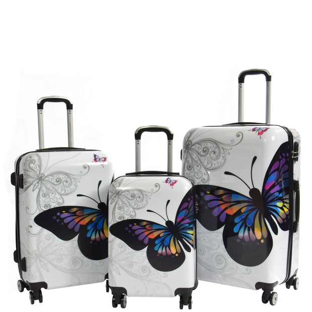 4 Wheel Luggage Hard Shell Lightweight ABS Trolley Bag White Butterfly