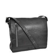 Mens Messenger Leather Bag Casual Office Students Man Bag Barney Black