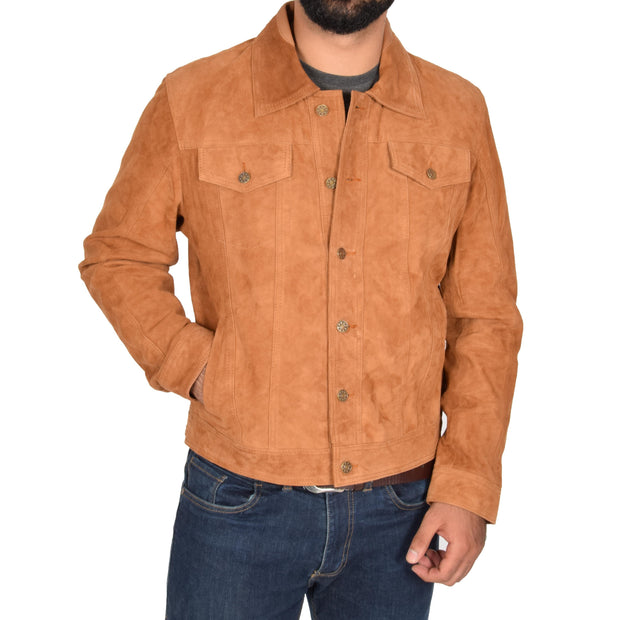 Mens Real Soft Goat Suede Trucker Denim Style Jacket Chuck Tan