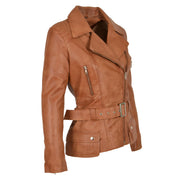 Womens Biker Leather Jacket Slim Fit Cut Hip Length Coat Coco Tan