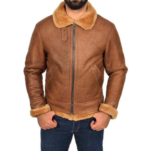 Authentic Aviator Coat Real Sheepskin Vintage Tan Bomber Jacket Tornado