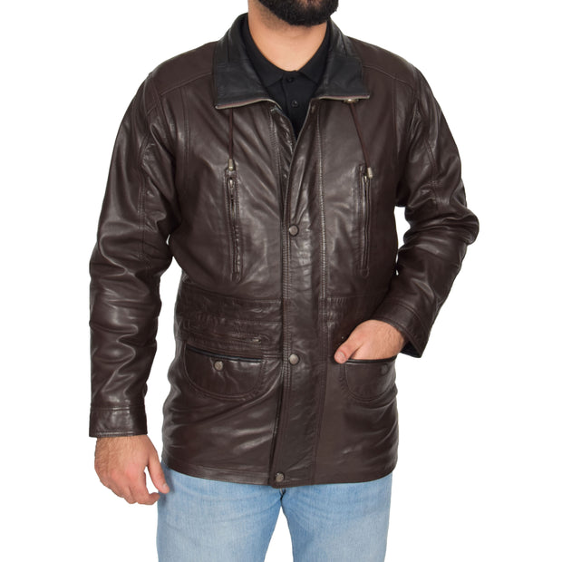 Gents Classic Soft Leather Parka Car Coat Parker Brown