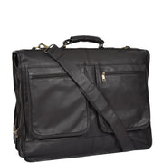 Genuine Luxury Leather Suit Garment Dress Carriers A112 Black