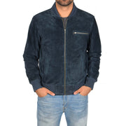 Mens Genuine Suede Bomber Jacket Roco Blue