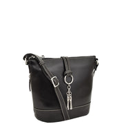 Womens Real Black Leather Sling Bag Crossbody Handbag Edith