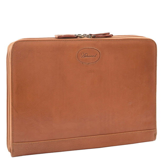 Real Tan Leather Folio Case A4 Document Underarm Conference Bag Ben