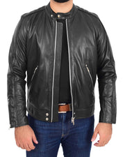 Mens Trendy Slim Fit Leather Biker Jacket Colt Black
