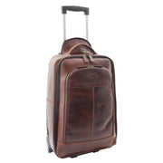 Wheeled Cabin Suitcase Real Brown Leather Luggage Travel Bag Carlos
