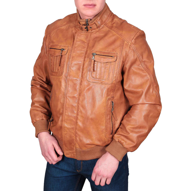 Mens Bomber Soft Leather Jacket Zip Fasten Ryan Tan main view