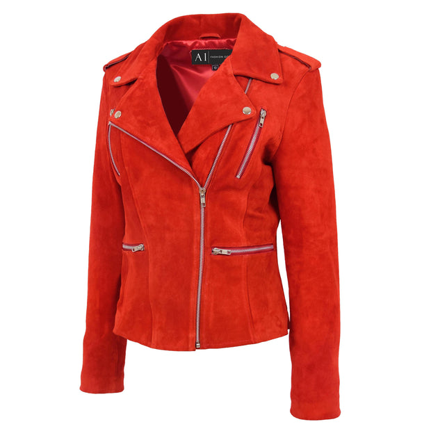 Womens Genuine X-Zip Fitted Biker Red Suede Leather Jacket Rusty